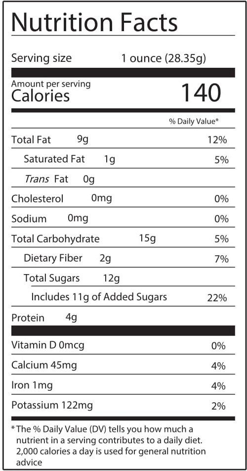 CAYOR Nutrition Facts